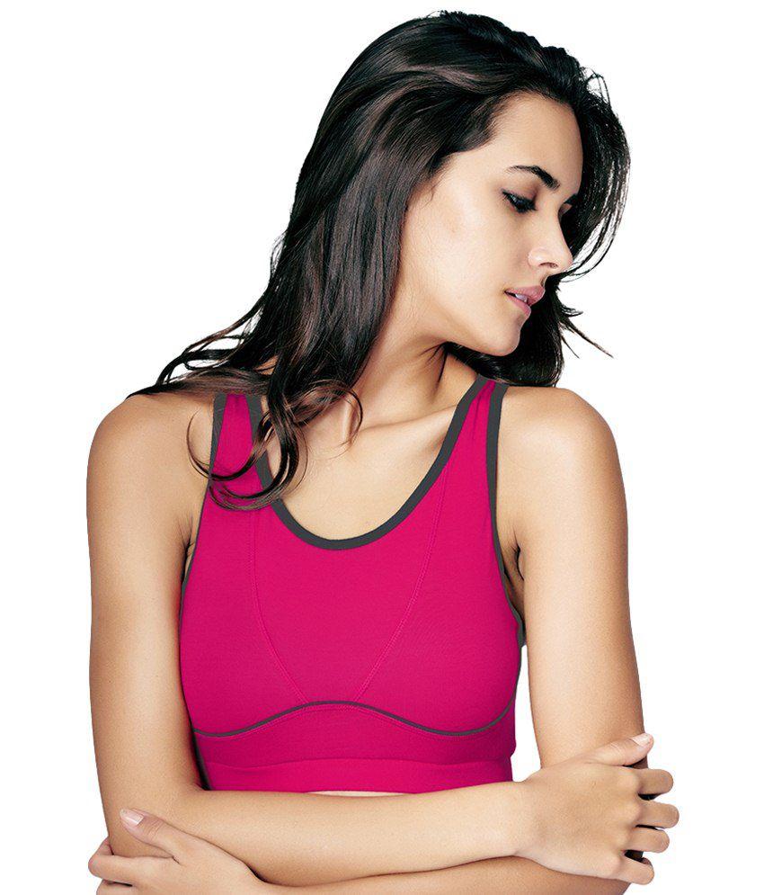 Restless Pink Stretchable Sports Bra
