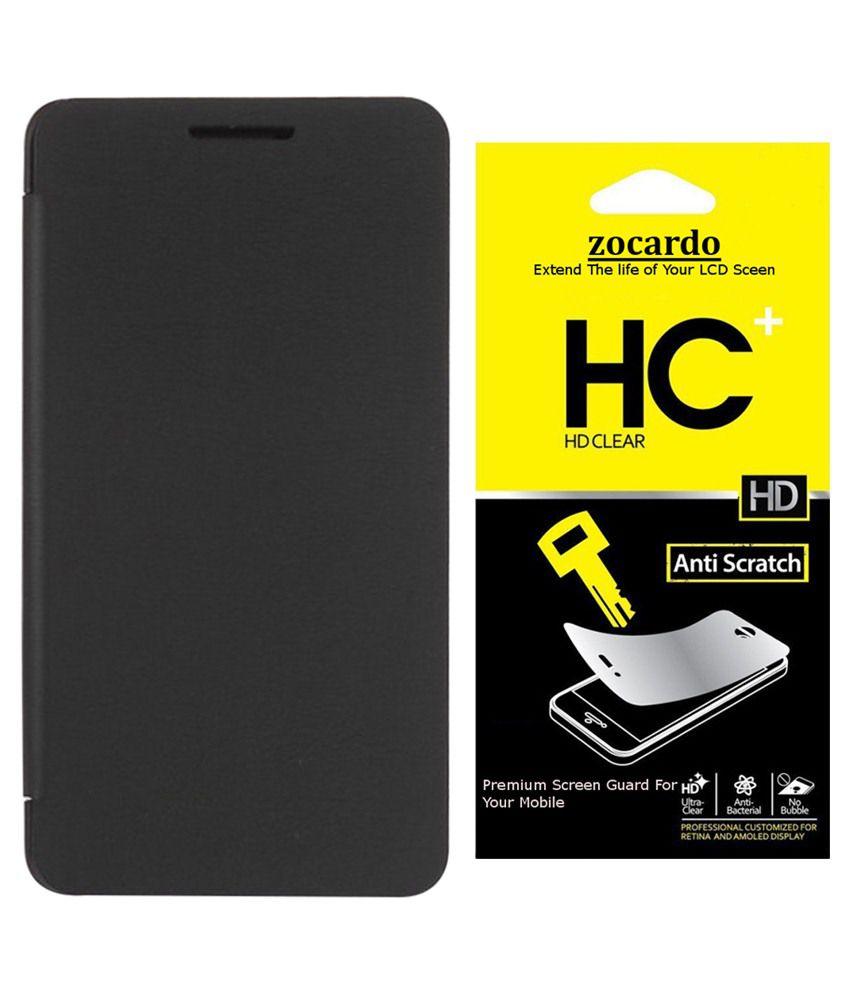 Zocardo Flip Cover For Intex Aqua Q1+ -black With 2 Screen Guard