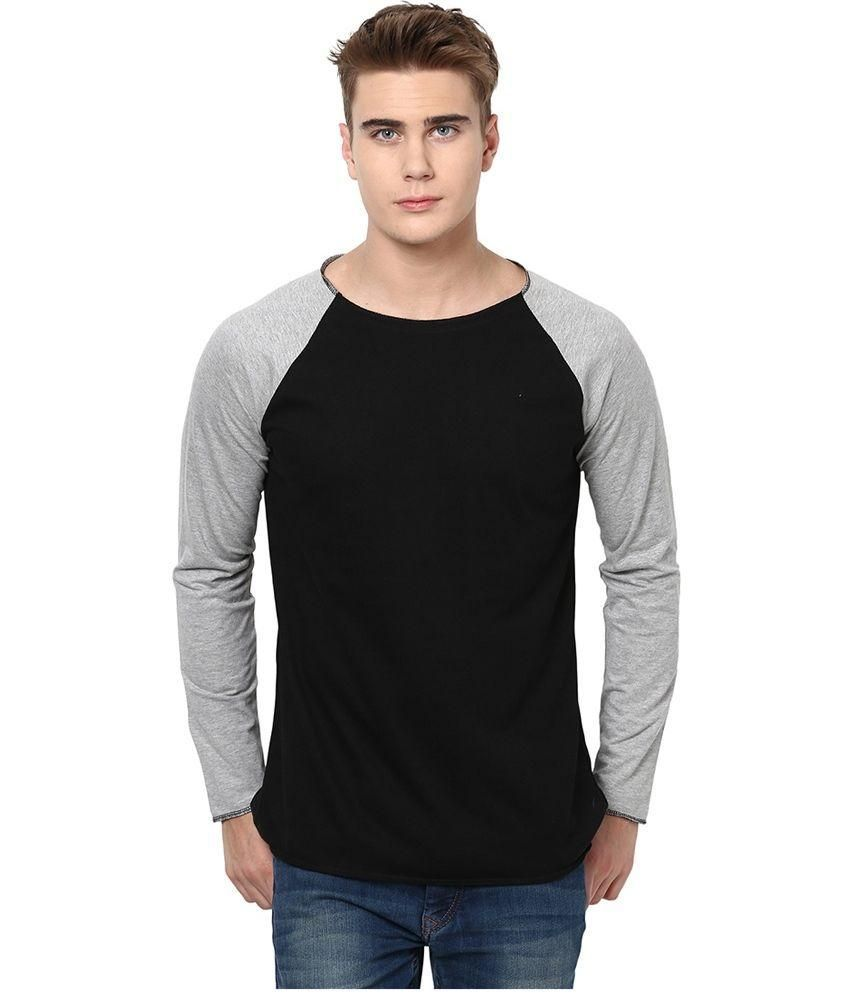 Comforts Black and Grey Cotton T-Shirt