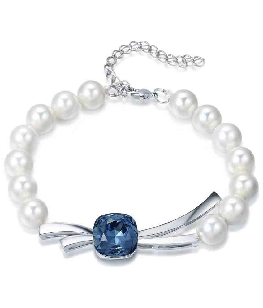 152a59721 Yellow Chimes Swarovski Elements Blue Crystal Natural Fresh Water Pearls  Designer Bracelet: Buy Yellow Chimes Swarovski Elements Blue Crystal  Natural Fresh ...
