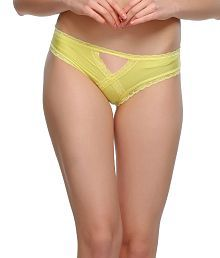 Clovia Yellow Polyamide With Spandex,lace Panties