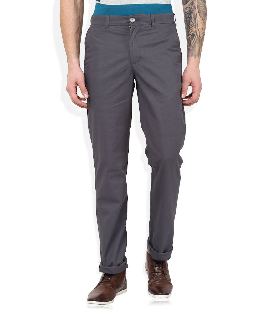 Color Plus Grey Regular Fit Trousers
