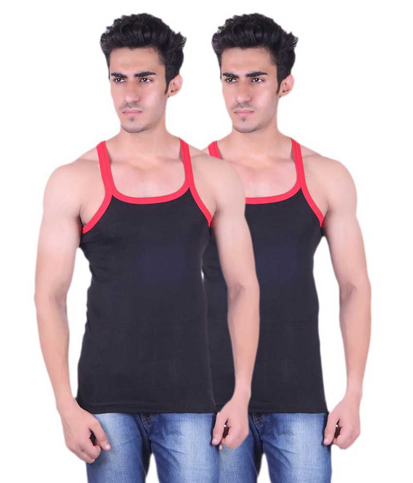Tulsi Ram Fabrics Tulsi Ram Fabrics Black Cotton Vest Pack Of 2