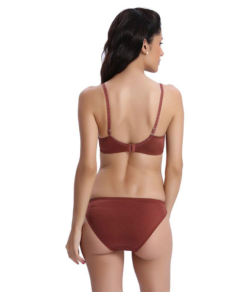 2b812ac509a81 Buy Bodyline Brown Polyamide Spandex   Lace Bra   Panty Sets Online ...
