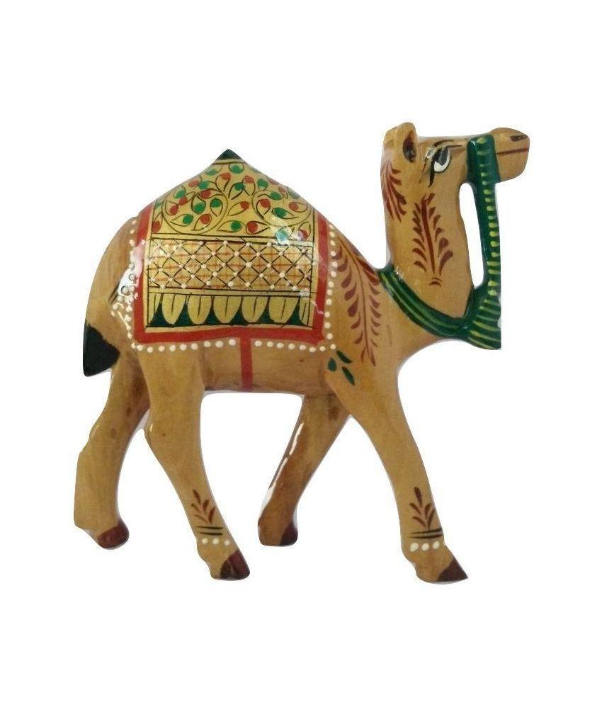 Longleaf Glossy Wooden Camel Showpiece