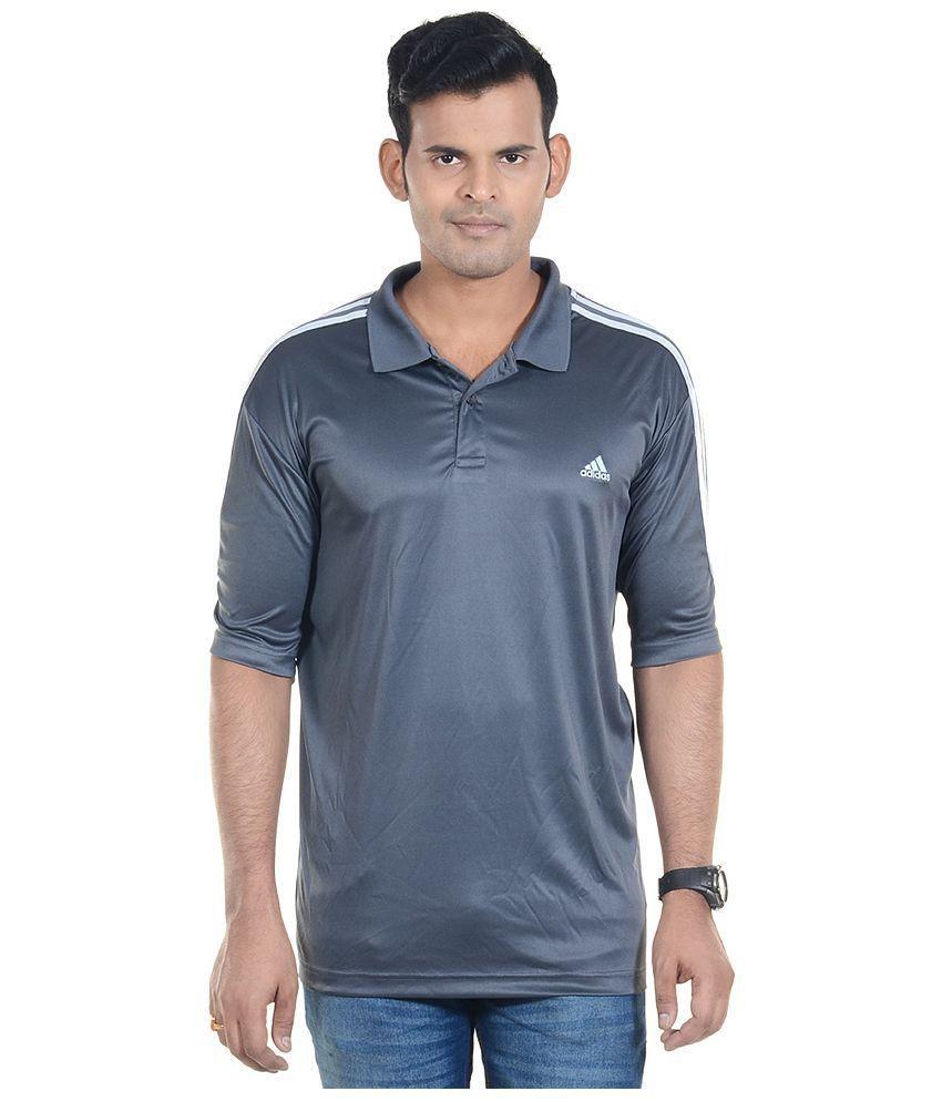 Adidas Grey Polyester Polo T-Shirt
