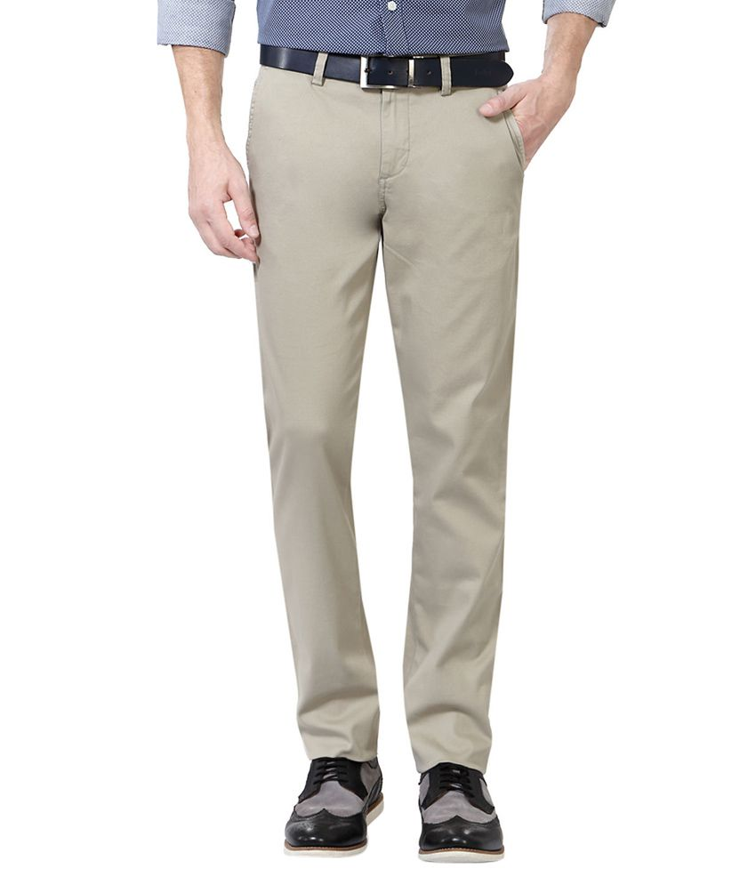Allen Solly Grey Slim Fit Casual Trousers
