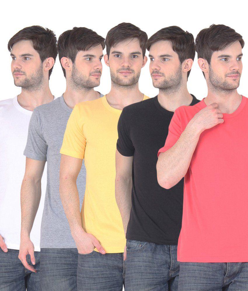 Fnme Multicolor Cotton Blend T-shirt - Pack Of 5