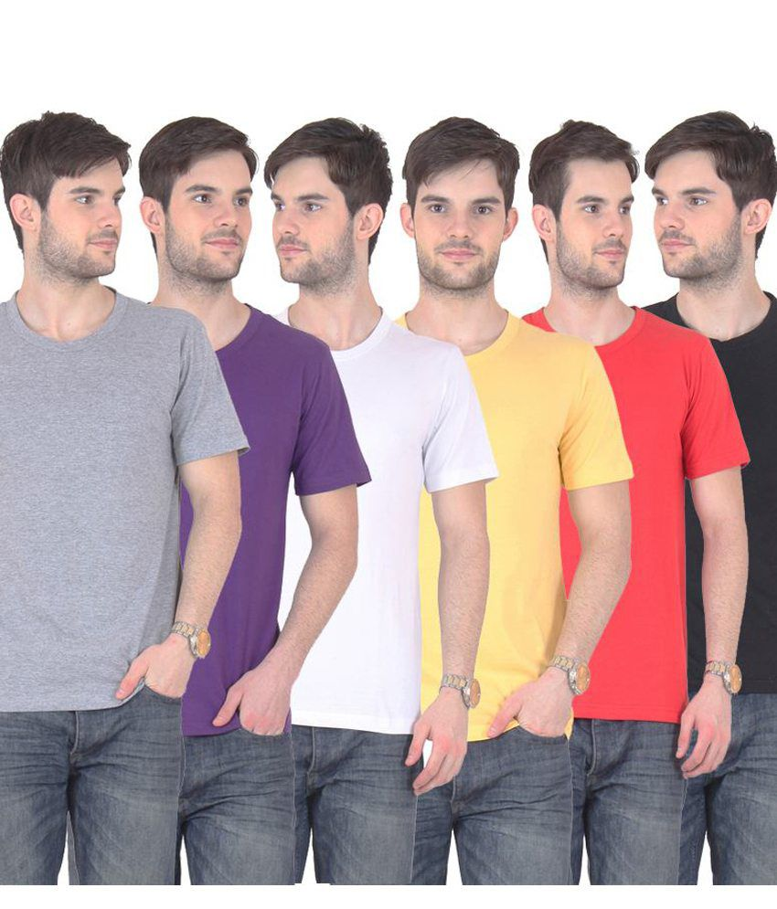 Fnme Multicolor Cotton Blend T-shirt - Pack Of 6