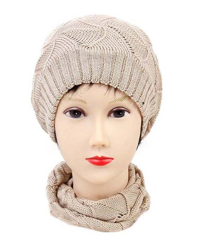 Isweven Beige Woollen Beanies Cap For Men