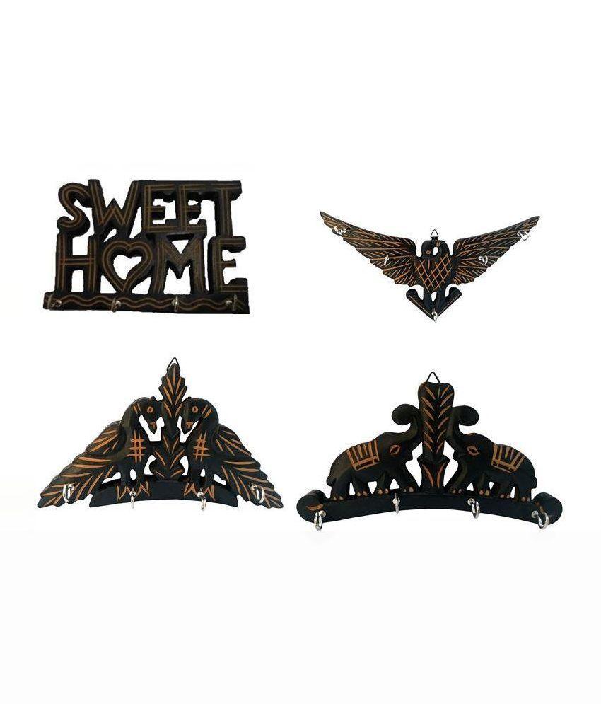 Zitter Brown Wooden Key Holder - Set Of 4