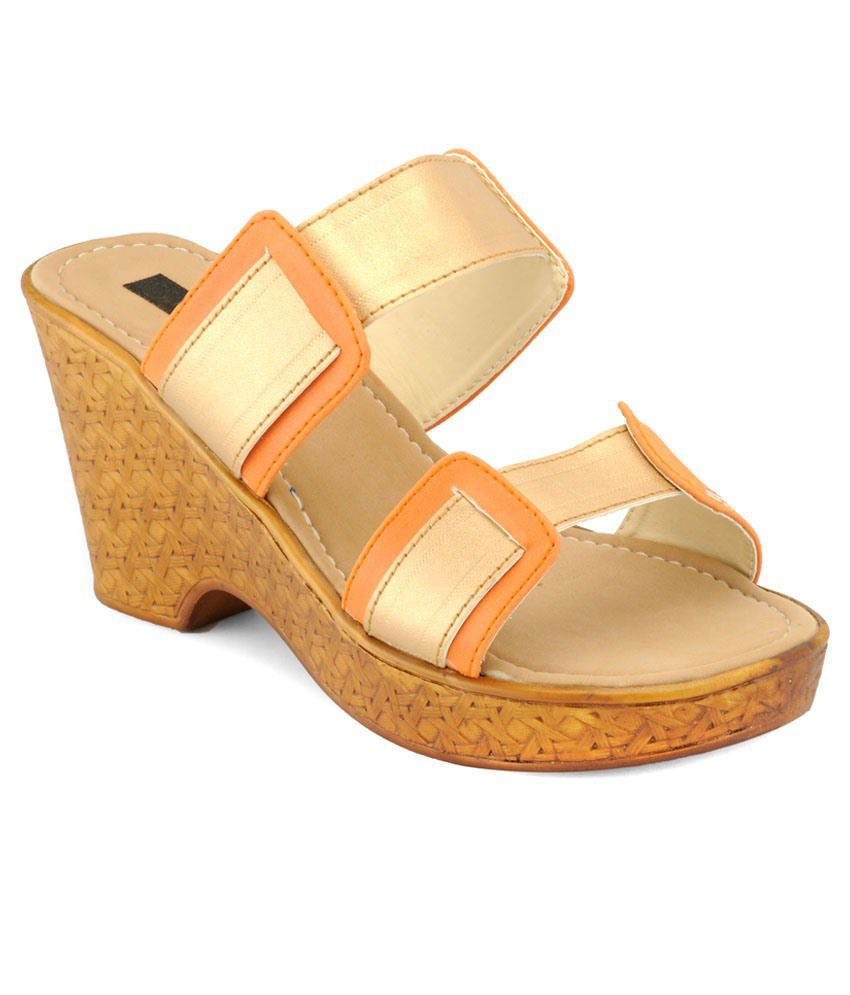 A Click Away Beige & Orange Medium Heeled Slip Ons
