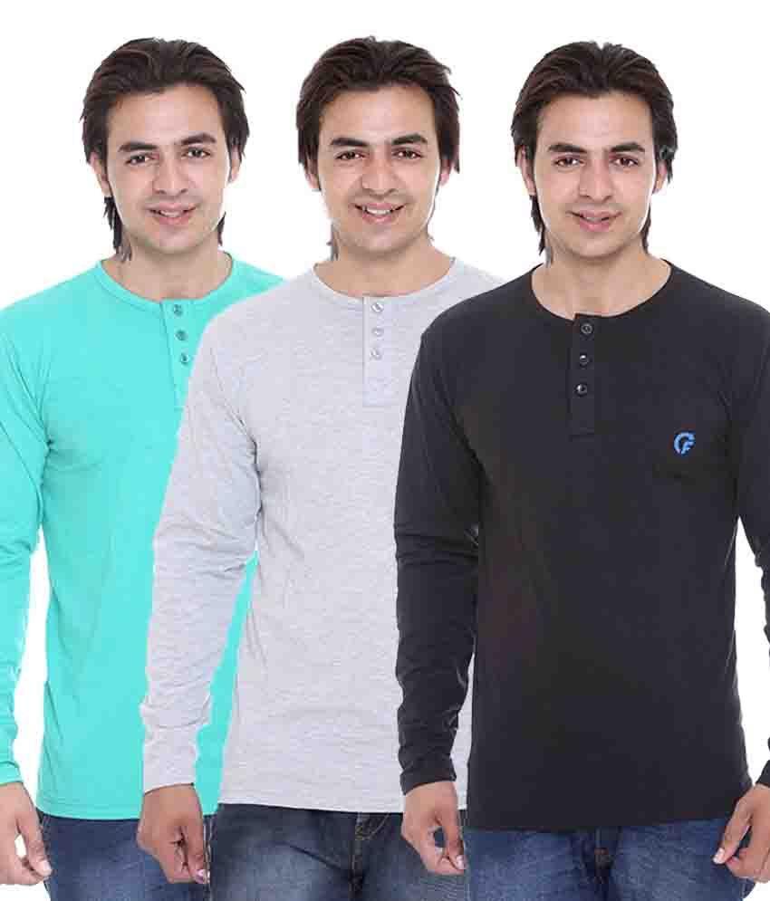 AVE Multicolor Cotton Blend T-Shirt - Pack Of 3