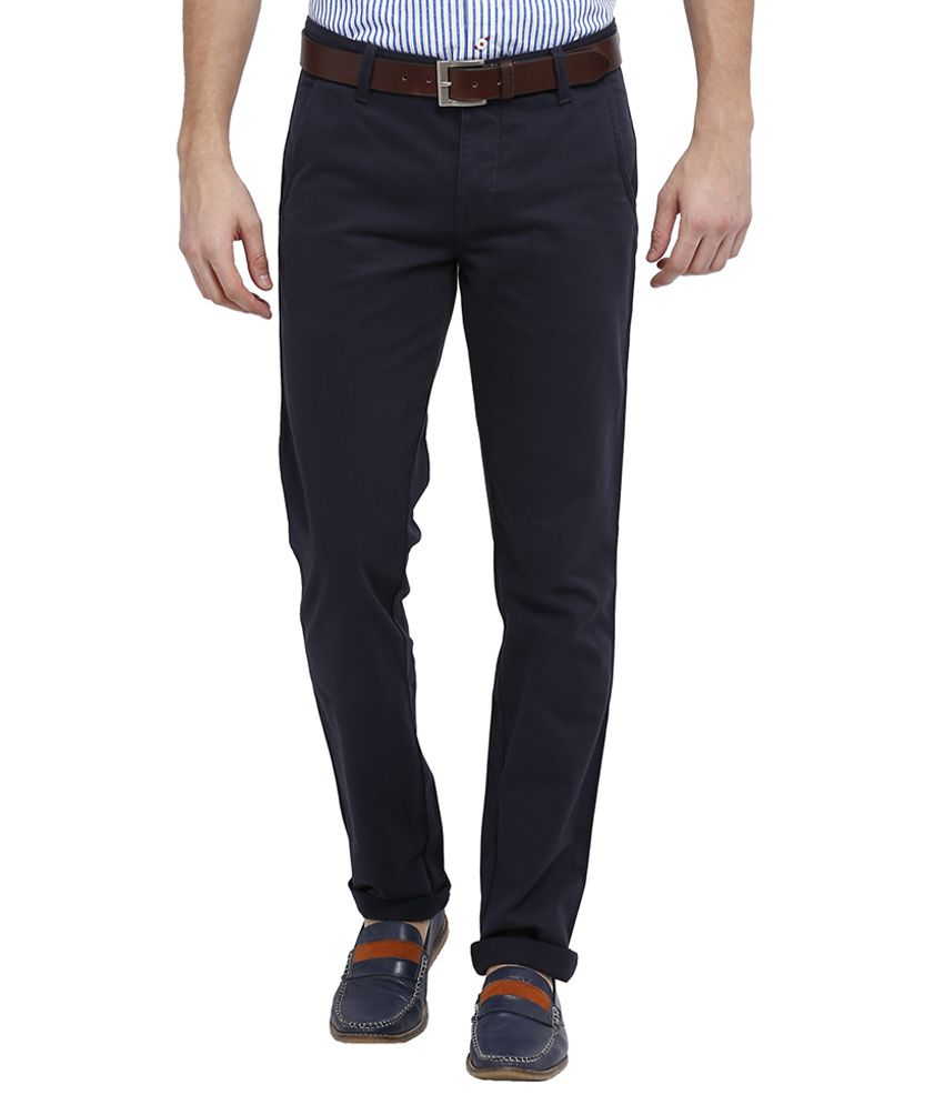 Allen Solly Navy Regular Fit Casual Trousers