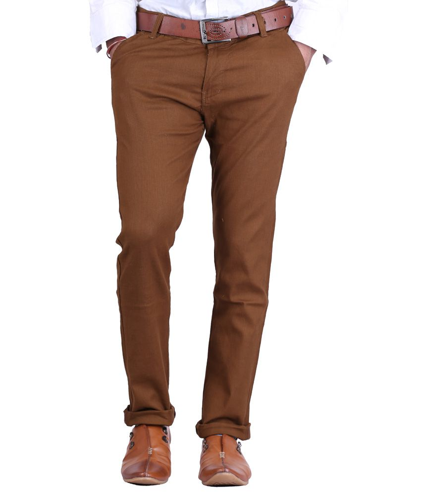 Ave Brown Slim Fit Formal Chinos Trouser