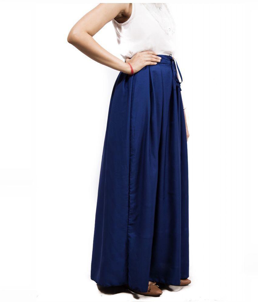 Buy FADJUICE Blue Crepe Maxi Skirt Online at Best Prices in India ...
