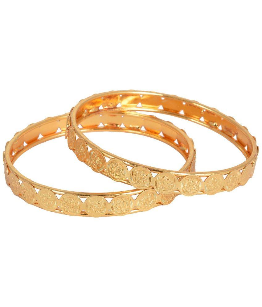 Hkj Golden Copper Bangle - Set Of 2