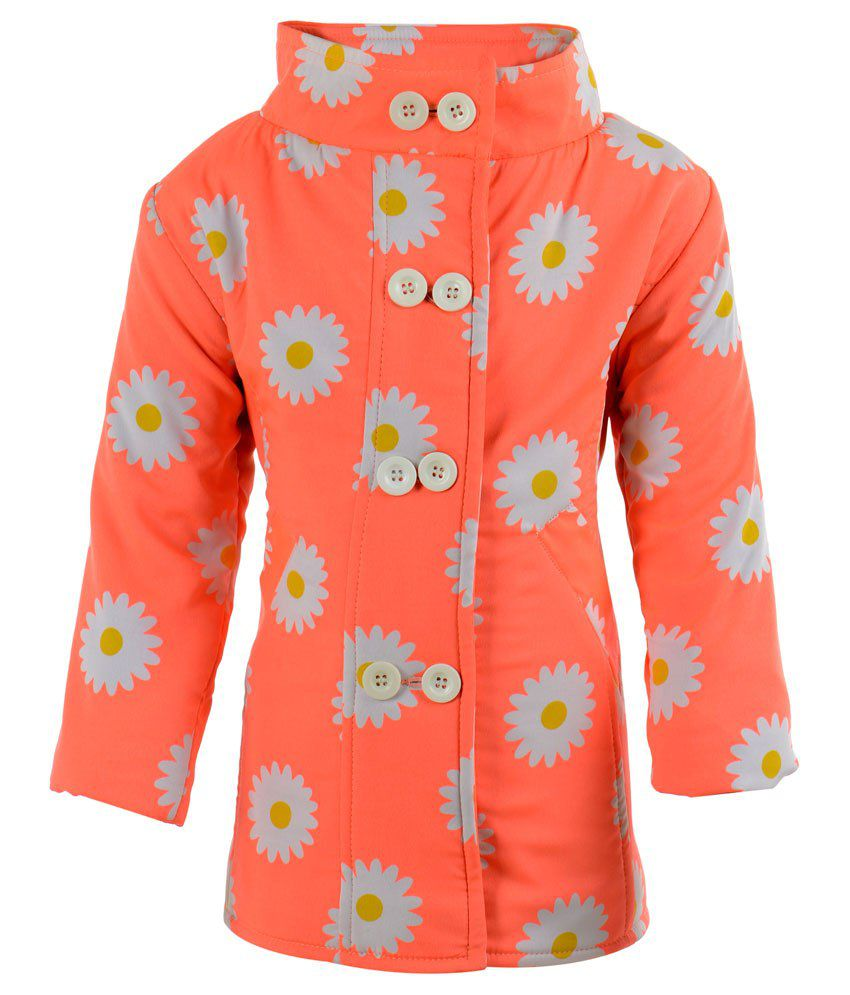 Toddla Orange Crepe Coat For Girls