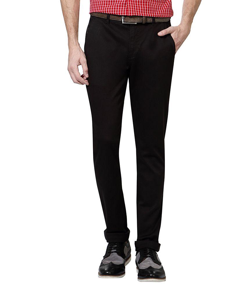 Van Heusen Black Slim Fit Casual Trousers