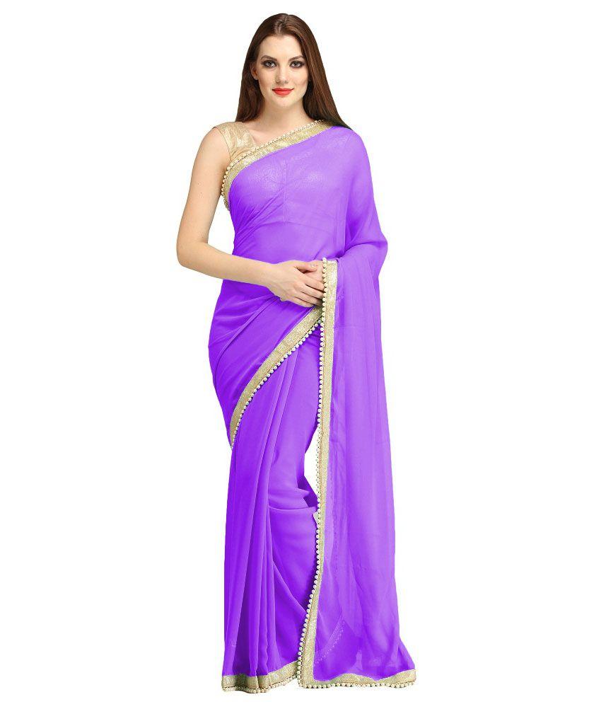 Vf Designer Purple Georgette Saree