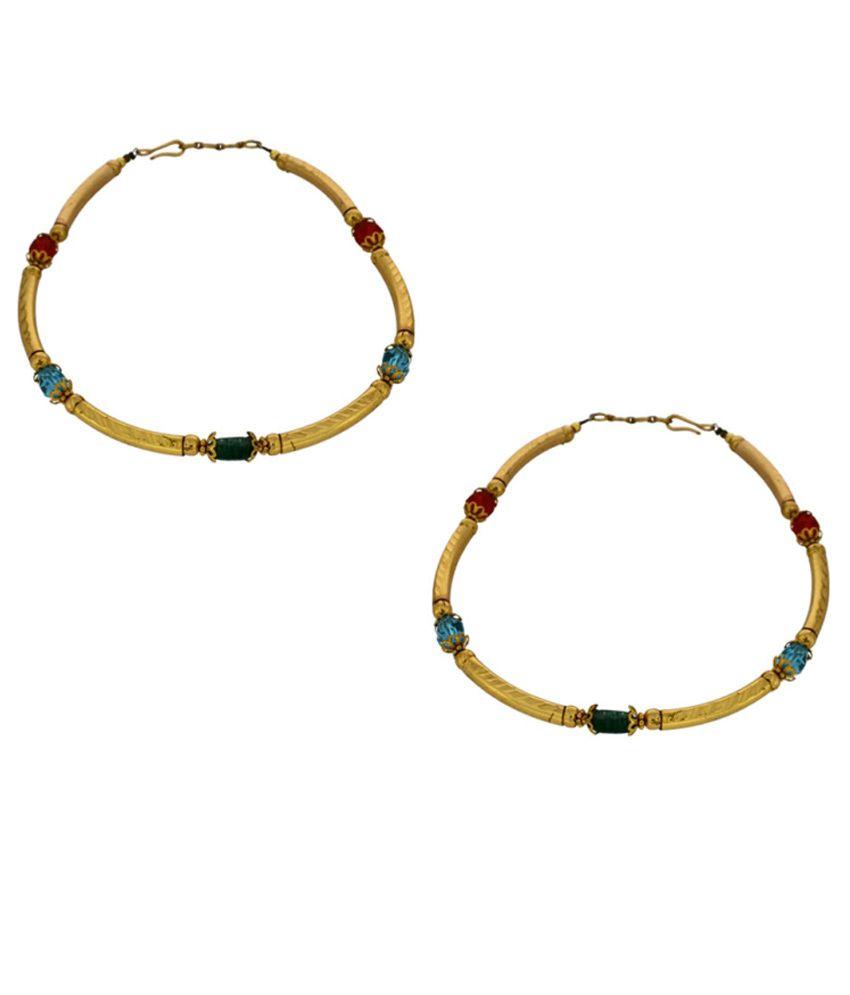 Anuradha Art Golden Cz Pair Of Anklets