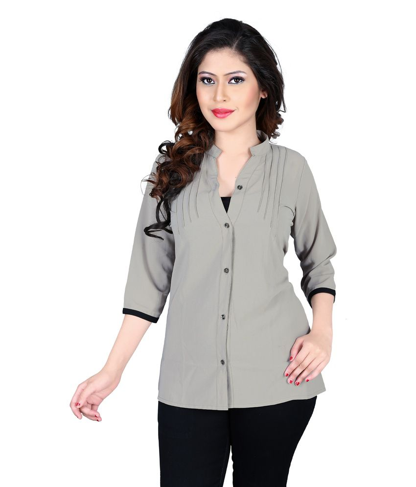 Cutemad Gray Poly Georgette Shirts