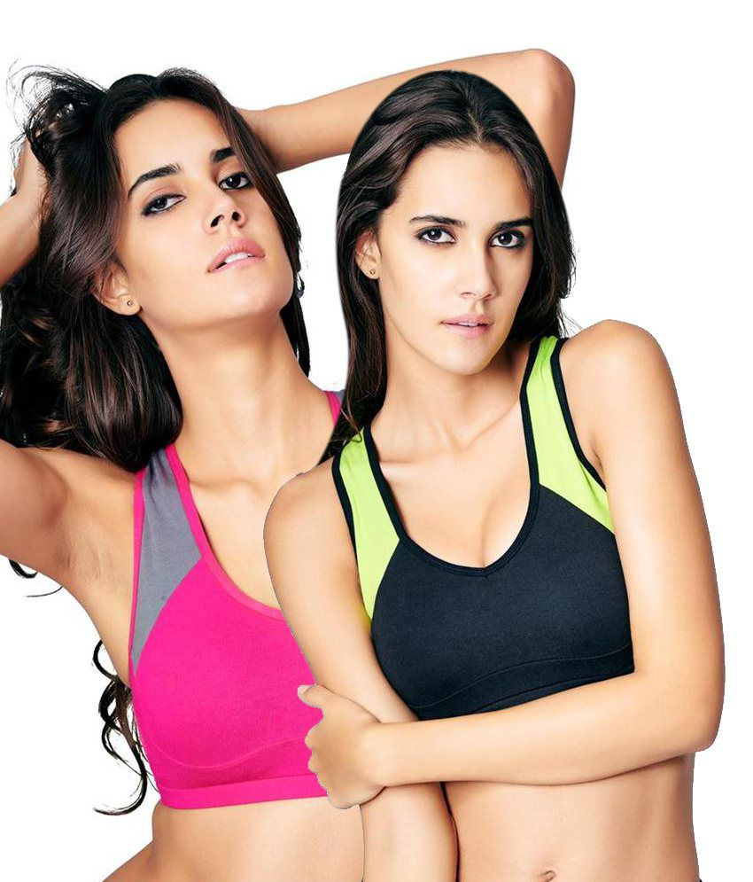 Restless Restless Black And Pink Set Of 2 Cotton Sports Bra