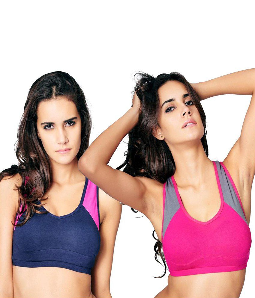 Restless Restless Navy And Pink Set Of 2 Cotton Sports Bra