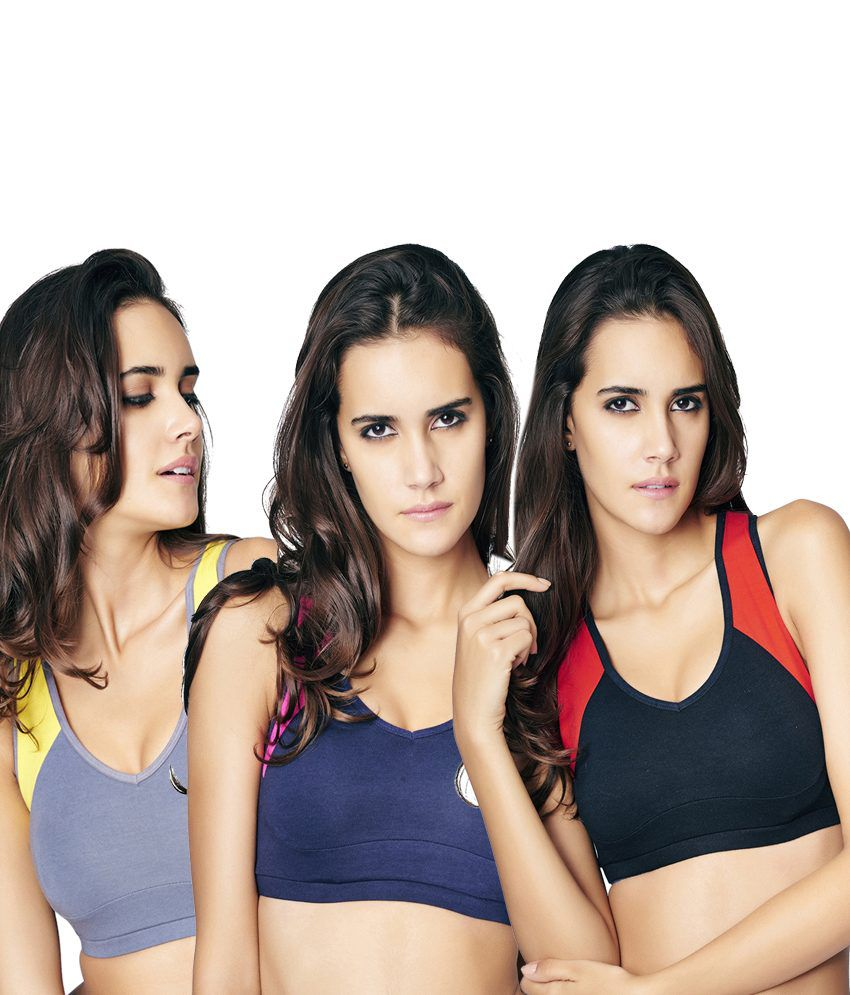 Restless Restless Navy, Black And Grey Set Of 3 Cotton Sports Bra