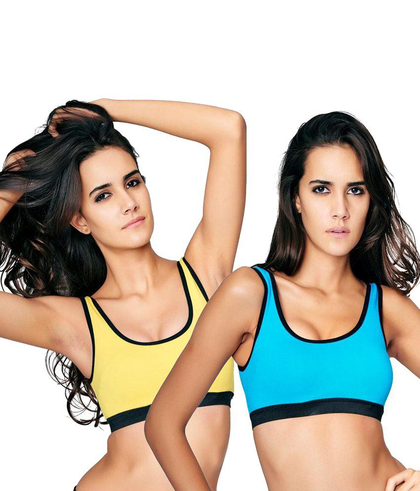 Restless Restless Yellow And Blue Set Of 2 Sports Bra