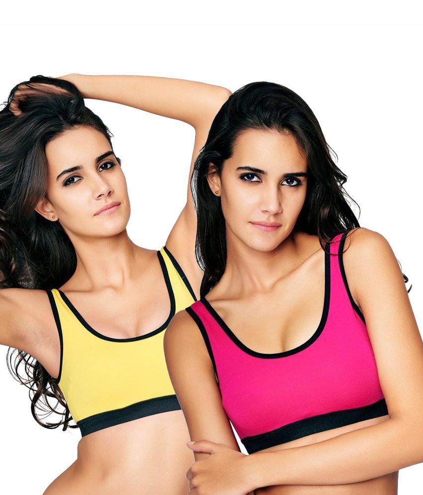 Restless Restless Yellow And Pink Set Of 2 Sports Bra