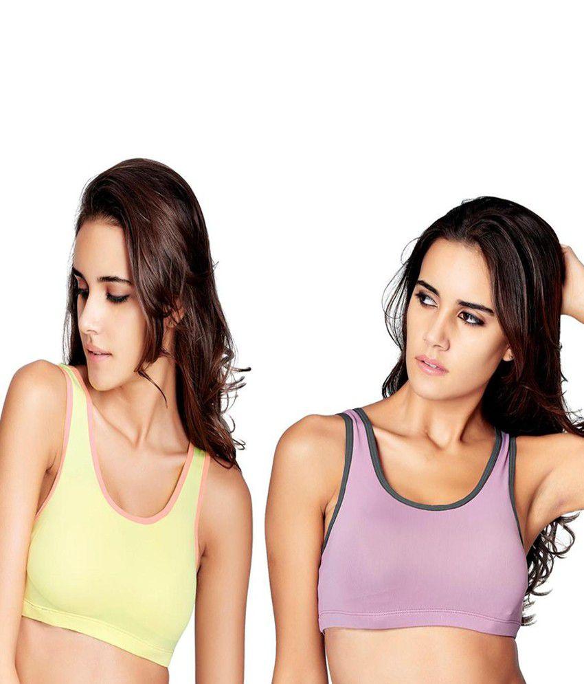 Restless Restless Yellow And Pink Set Of 2 Polyamide Sports Bra Gym Wear Women/Tight Women/Yoga Dress