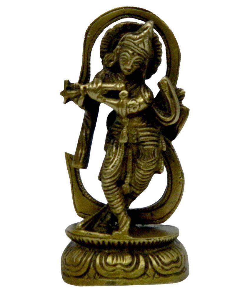 Bharat Haat Brass God Krishna Statue Fine Collectible Art
