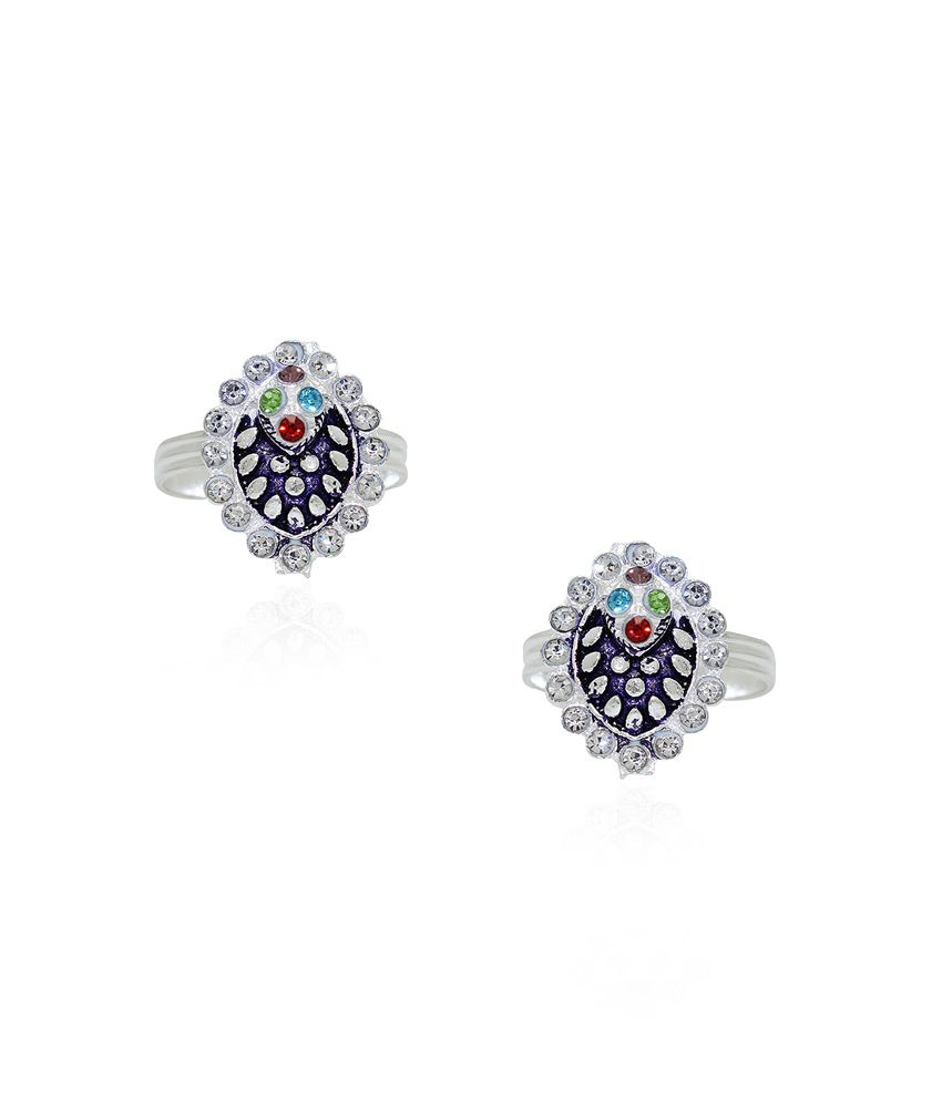 Frabjous Multicolor Zircon German Silver Toe Ring