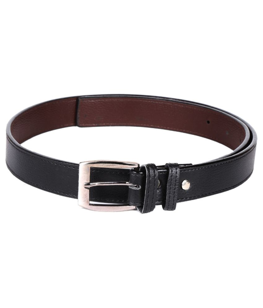 Mango People Black Leather Formal Belt For Men