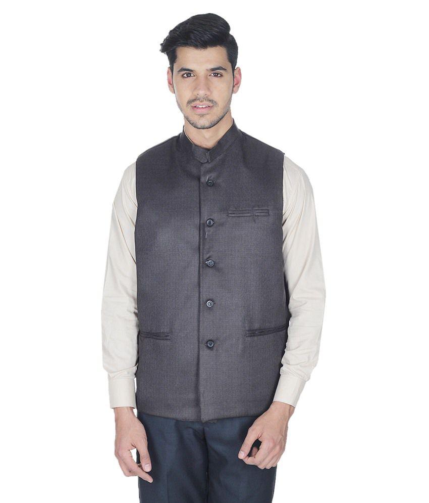 Selfieseven Black Cotton Blend Waistcoat