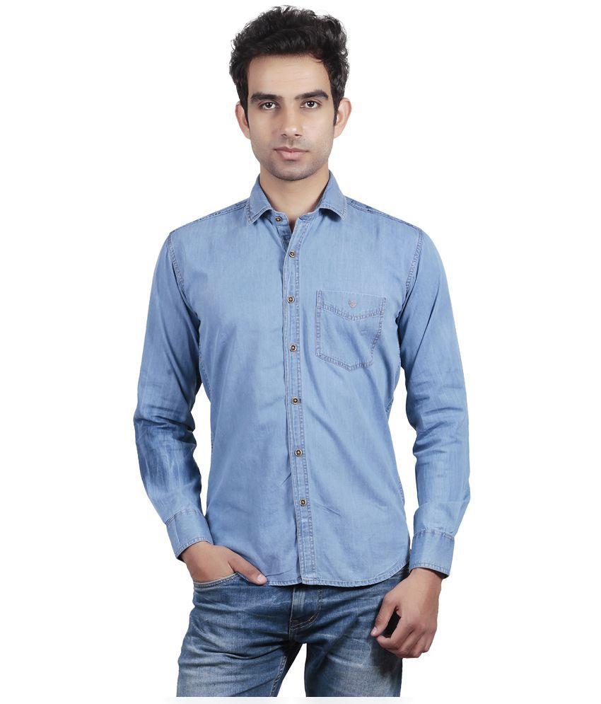 Valbone Light Blue Color Slim Fit Solid Pattern Casual Men's Shirt