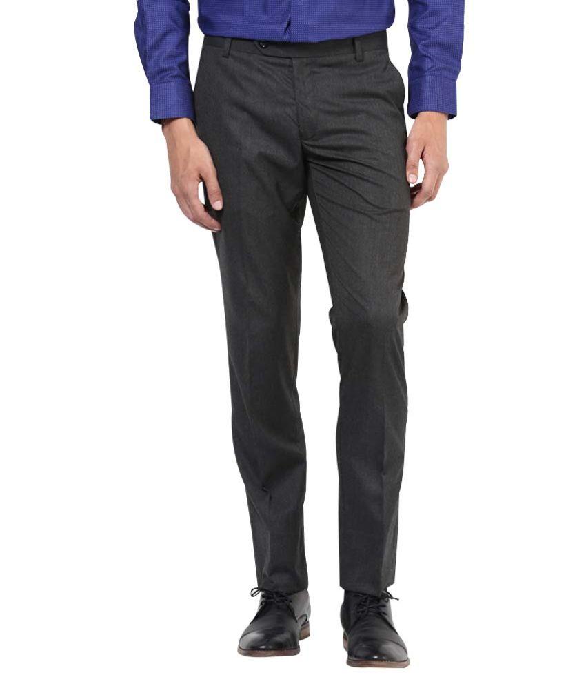 John Players Black Slim Fit Formal Flat Trousers