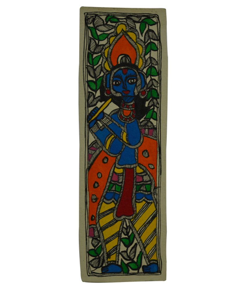 Craftuno Glossy Lord Krishna Playing Flute Folk Art Painting