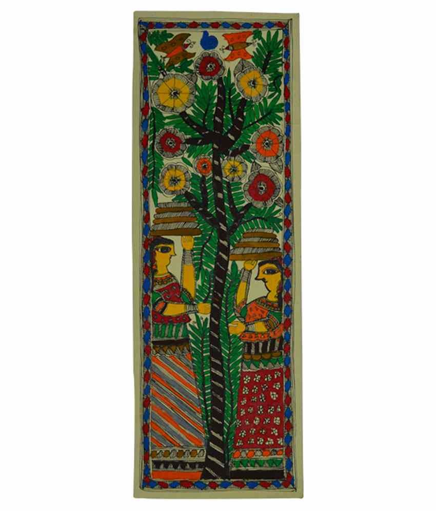 Craftuno Glossy Tree Worship Folk Art Painting