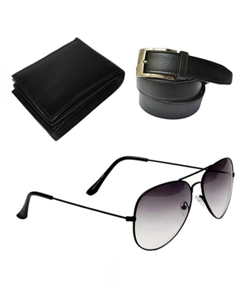 Daller Black Pin Bucklet Belt With Wallet and Sunglasses For Men