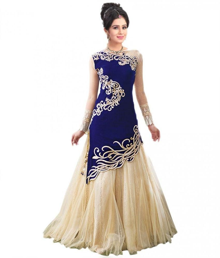 New Look Blue Net Gown - Buy New Look Blue Net Gown Online at Best ...
