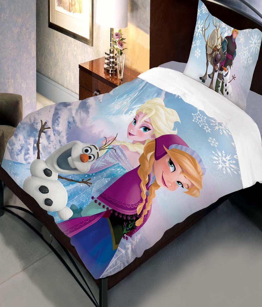 Delightful Uber Urban Disney Frozen Cartoon Cotton Single Kids Bedsheet With 1 Pillow  Cover   Multicolor ...