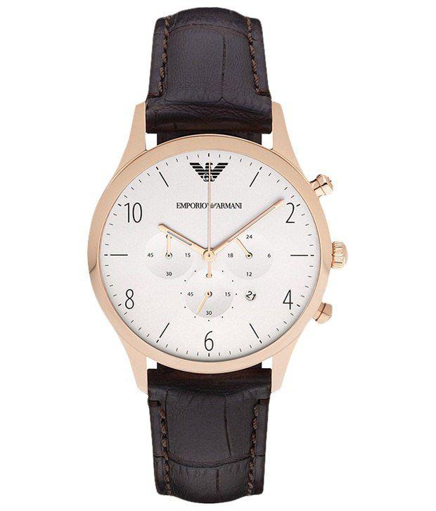 Emporio Armani Armani White & Brown Formal Analogue Wrist Watch For Men
