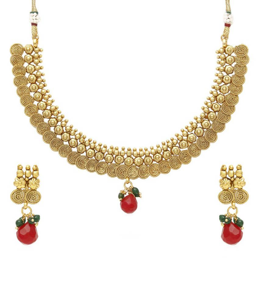 Jewels Galaxy Golden And Red Alloy Necklace Set