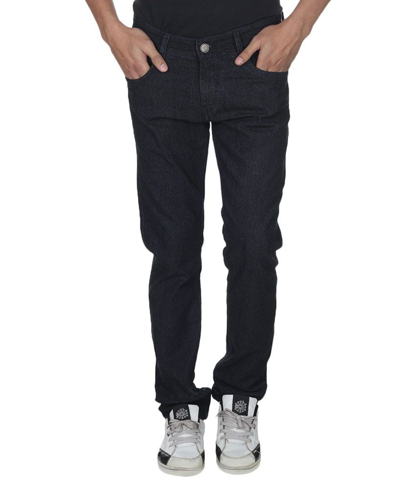 Fashion Flag Black Cotton Jeans