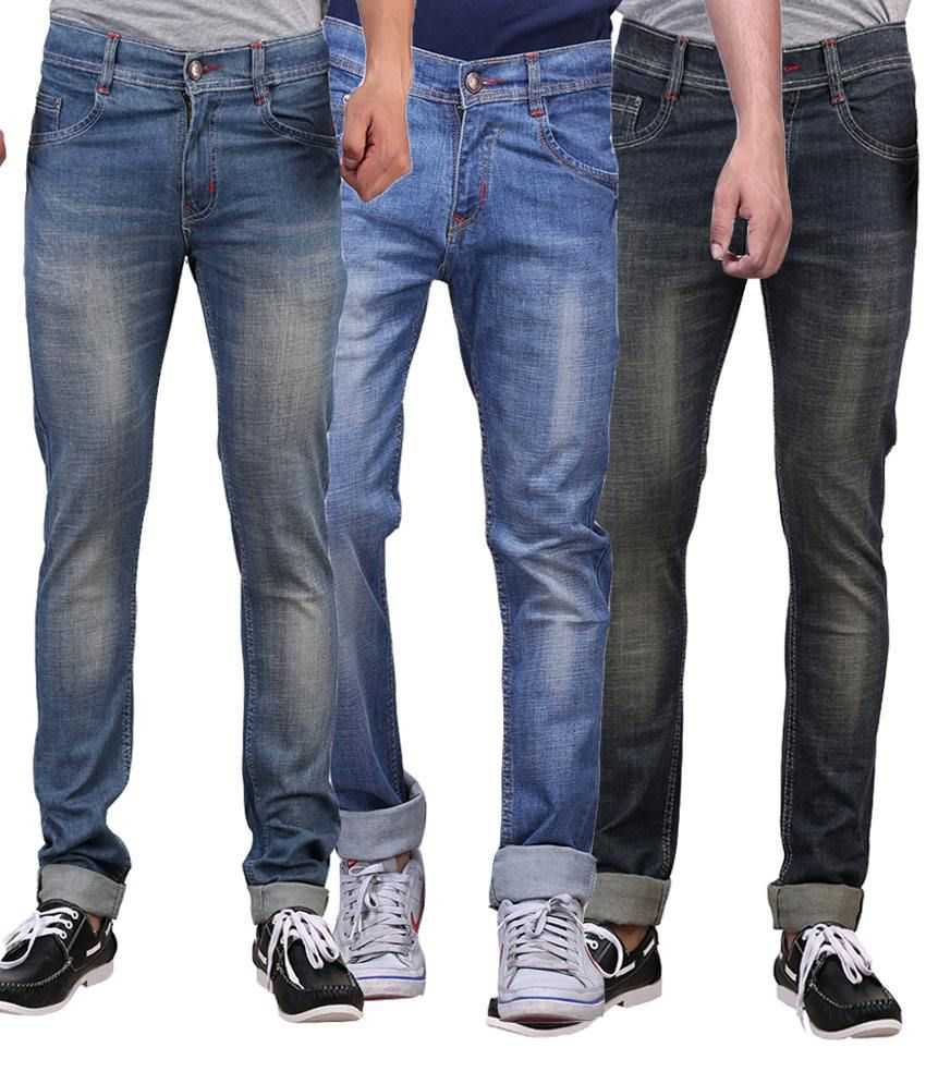 X-cross Multicolor Slim Fit Jeans - Pack Of 3
