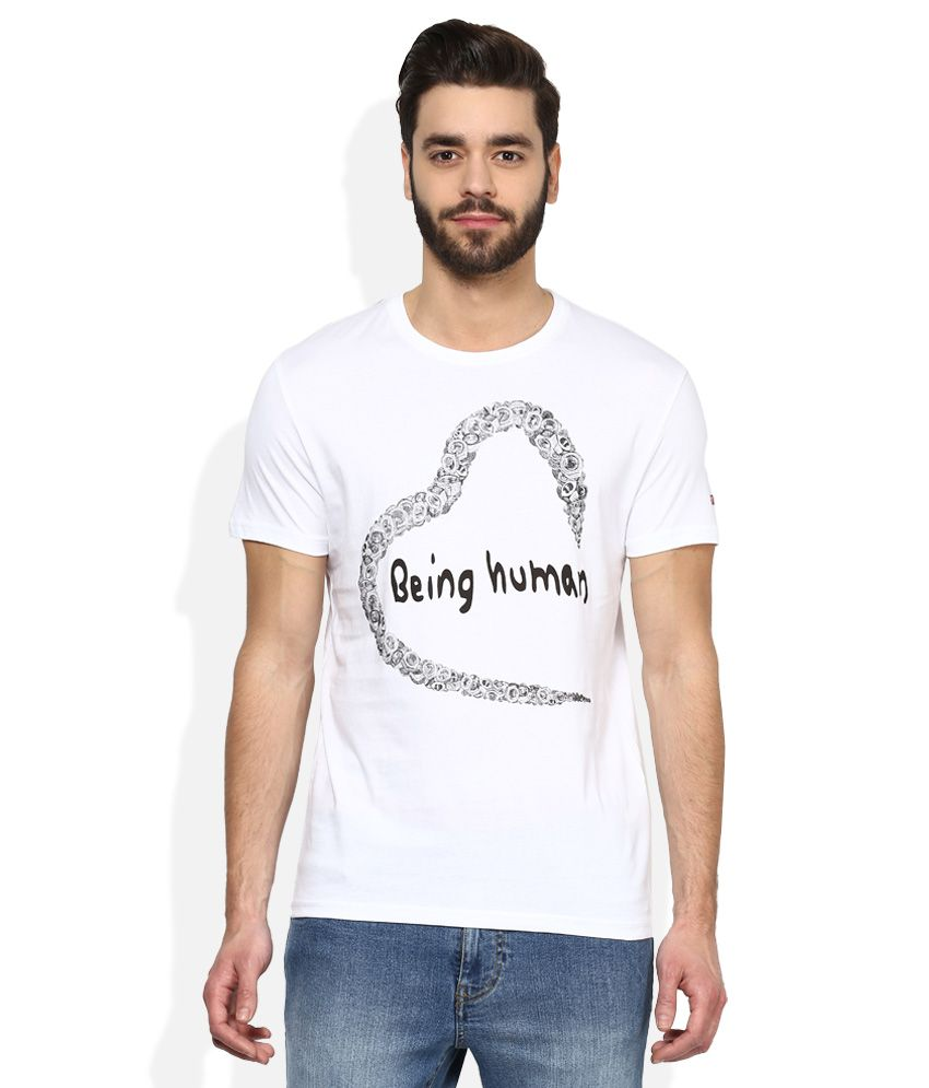 Being human white printed t shirt buy being human white for Buy being human t shirts online