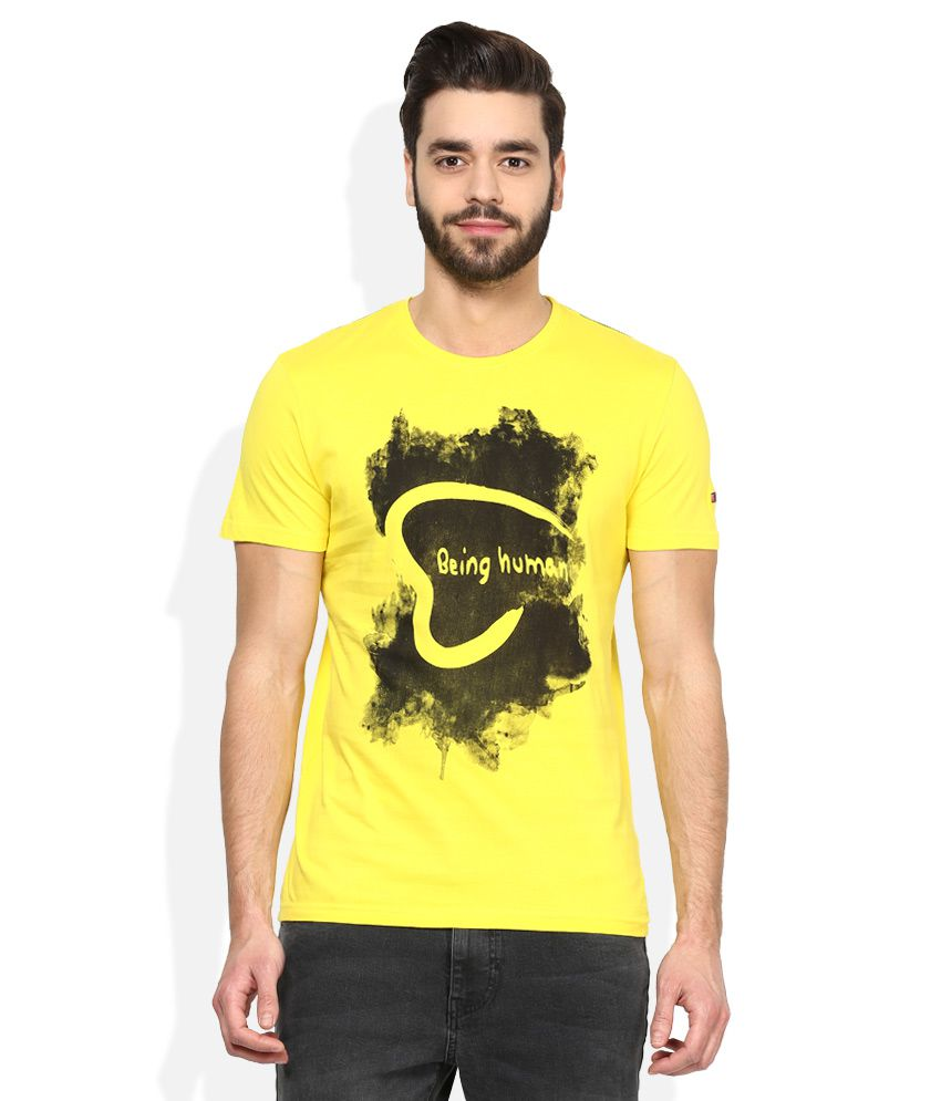 Being human yellow printed t shirt buy being human for Buy being human t shirts online
