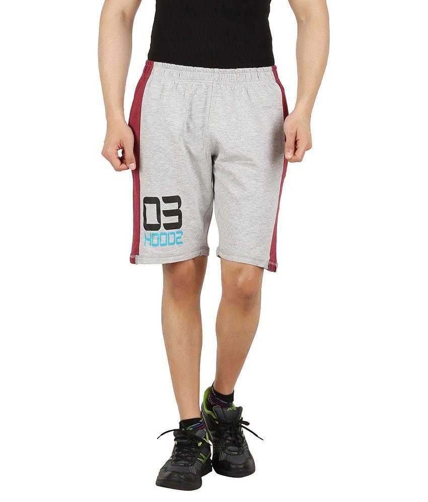 Hoodz Grey & Red Loop Knit Printed Shorts